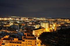 Alicante bij nacht Stock Afbeelding
