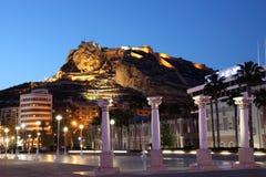 Alicante bij nacht, Spanje Royalty-vrije Stock Foto's