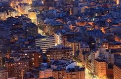 Alicante bij nacht, Spanje Stock Foto's