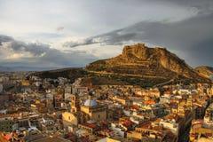 Alicante bij zonsondergang Stock Foto