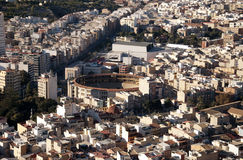 Alicante bullring. Vieuw of the city Alicante with the bullring royalty free stock photography