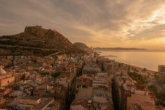 Alicante, Castle of Santa Barbara on Mount Benacantil at dawn stock images