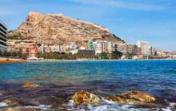 Alicante with Castle of Santa Barbara Stock Photos