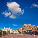 Alicante city and castle from port in Mediterranean spain Royalty Free Stock Photos