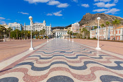 Alicante city and castle from port in Mediterranean Spain Stock Photography