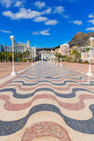 Alicante city and castle from port in Mediterranean Spain Stock Photos