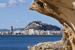 Alicante city view. A view of the city of Alicante with the Santa Barbara castle Stock Photo