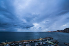 Alicante cloudy harbour Royalty Free Stock Image