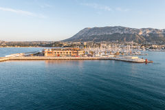 Alicante Denia port marina and Montgo in mediterranean sea Royalty Free Stock Image
