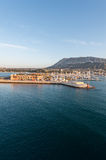 Alicante Denia port marina and Montgo in mediterranean sea Stock Images