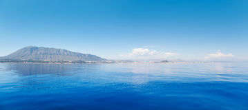 Alicante Denia view from blue calm sea Royalty Free Stock Photography