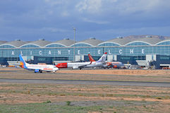 Aircraft And Passenger Planes At Alicante Elche Airport Royalty Free Stock Image