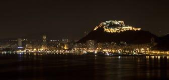Alicante entro la notte Fotografia Stock Libera da Diritti