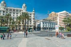 Alicante, Espagne - septembre 2015 : Place 'plaza Puerta Del Mar' Images libres de droits
