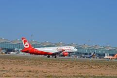 Alicante flygplats - Air Berlin Fotografering för Bildbyråer