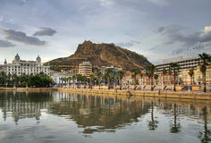 Alicante harbor. Alicante city in Spain reflection in harbor Stock Photo