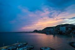 Alicante harbour purple Stock Photo