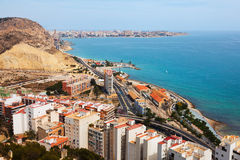 Alicante from high point in  day. Spain Royalty Free Stock Photos