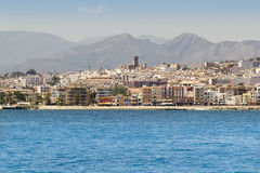 Alicante Javea village view from mediterranean sea Royalty Free Stock Images