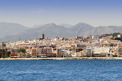 Alicante Javea village view from mediterranean sea Royalty Free Stock Photography