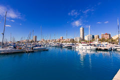 Alicante marina port boats in Mediterranean spain Royalty Free Stock Images
