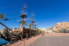 Alicante marina port boats in Mediterranean spain Stock Images