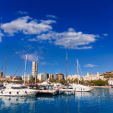 Alicante marina port boats in Mediterranean spain Royalty Free Stock Photo
