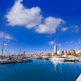 Alicante marina port boats in Mediterranean spain Royalty Free Stock Photos