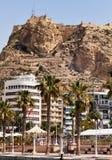 Alicante Marine and the castle stock photos