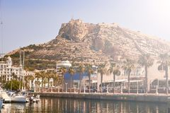 Alicante Marine and the castle royalty free stock image