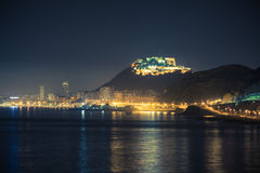 Alicante night fort Stock Images
