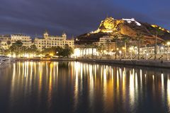 Alicante at night from the port in winter. Stock Image