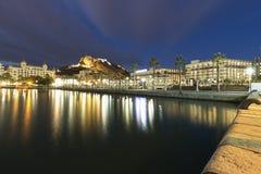 Alicante at night Skyline Royalty Free Stock Photos