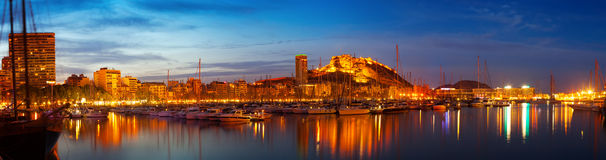 Alicante in night, Spain Stock Images