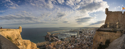 Alicante panoramic view from the Santa Barbara castle, Spain Royalty Free Stock Image