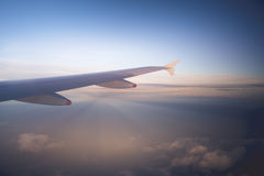 Alicante plane wing light Royalty Free Stock Image