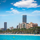 Alicante Playa el Postiguet beach downtown and Esplanada Stock Photography