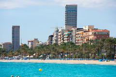 Alicante Playa el Postiguet beach downtown and Esplanada Royalty Free Stock Images