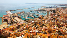 Alicante and port in  day time. Spain. View of seaside part of Alicante and port in  day time. Spain Stock Images