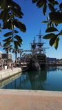 Alicante port. Old ship in port royalty free stock images