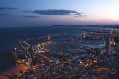 Alicante port przy nocą Obrazy Royalty Free