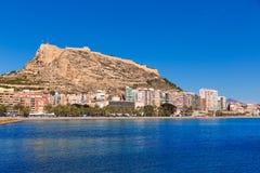 Alicante Postiguet beach and castle Stock Photos
