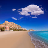 Alicante Postiguet beach and castle in Spain Stock Image
