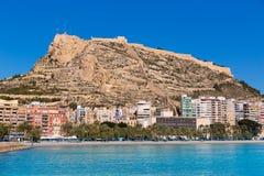 Alicante Postiguet beach and castle  in Spain Stock Photos
