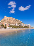 Alicante Postiguet beach and castle  in Spain Stock Photo