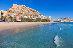 Alicante Postiguet beach and castle  in Spain. Alicante Postiguet beach and castle Santa Barbara in Spain Valencian Community Royalty Free Stock Photos
