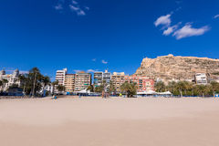Alicante Postiguet beach and castle in Spain Stock Photography