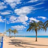 Alicante Postiguet beach at Mediterranean sea in Spain Royalty Free Stock Photos