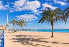 Alicante Postiguet beach at Mediterranean sea in Spain Royalty Free Stock Image