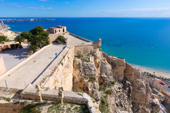 Alicante Postiguet beach  Santa Barbara Castle Royalty Free Stock Photo
